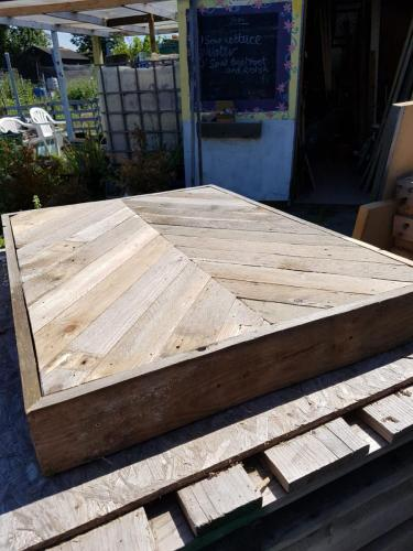 A table top that is made from pallets at Faversham.